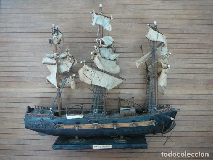 MAQUETA FRAGATA ESPAÑOLA 1780. MADERA Y PLÁSTICO. PARA RESTAURAR. (Juguetes - Modelismo y Radiocontrol - Maquetas - Barcos)