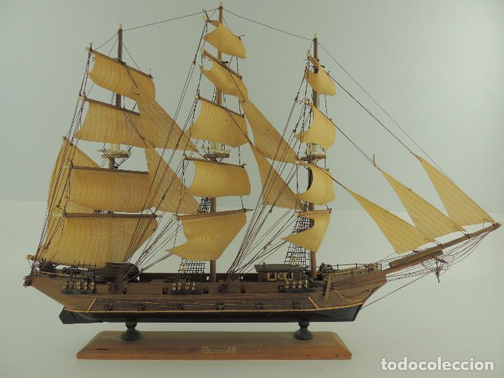 Maquetas: PRECIOSA maqueta de madera barco fragata siglo XVIII pieza de coleccion - Foto 2 - 161685826