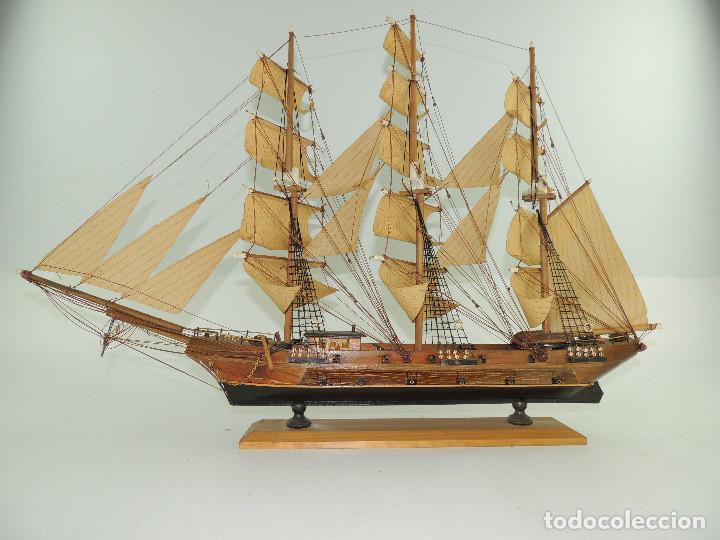 Maquetas: PRECIOSA maqueta de madera barco fragata siglo XVIII pieza de coleccion - Foto 12 - 161685826