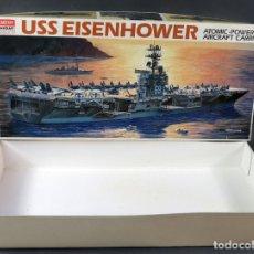 Maquetas: CAJA VACÍA BARCO GUERRA USS EISENHOWER ATOMIC ACADEMY HOBBY MODEL KITS 1/800 REF 1440. Lote 166802138