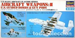 HASEGAWA - AIRCRAFT WEAPONS:II U.S GUIDED BOMBS & GUN PODS 1/72 X72 3 (Juguetes - Modelismo y Radio Control - Maquetas - Aviones y Helicópteros)