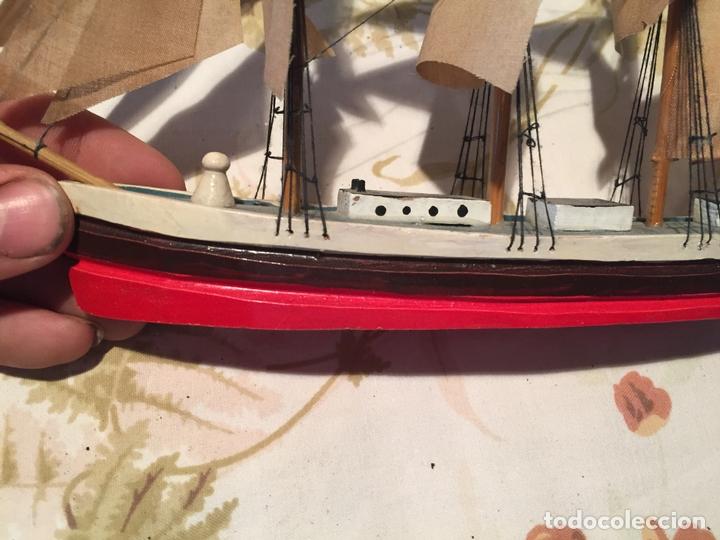 Maquetas: Antigua maqueta de barco velero de madera con velas, años 60 - Foto 4 - 169614296