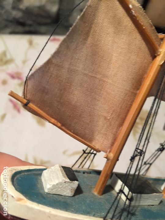 Maquetas: Antigua maqueta de barco velero de madera con velas, años 60 - Foto 7 - 169614296