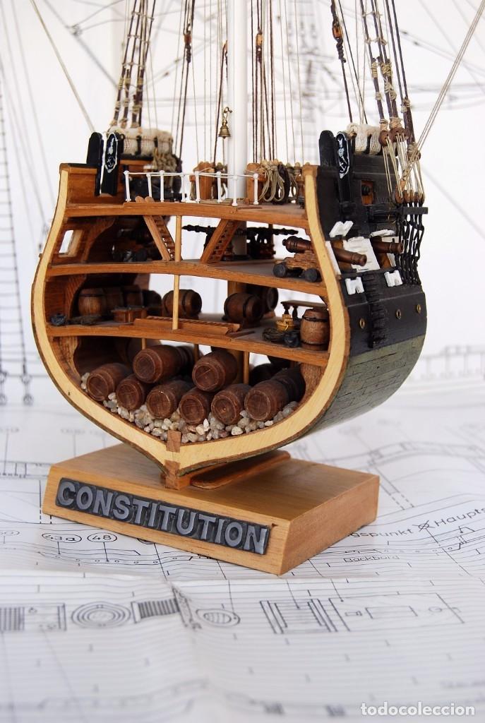 IMPRESIONANTE MAQUETA DE SECCIÓN TRANSVERSAL ESCALA 1:93 , FRAGATA U. S. S. CONSTITUTION . VER FOTOS (Juguetes - Modelismo y Radiocontrol - Maquetas - Barcos)