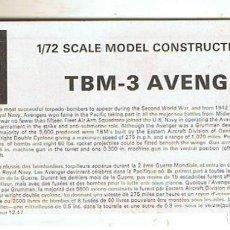 Maquetas: INSTRUCCIONES DE MONTAJE DEL GRUMMAN TBM-3 AVENGER DE AIRFIX ESCALA 1/72. Lote 171576498