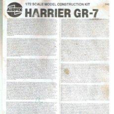 Maquetas: INSTRUCCIONES DE MONTAJE DEL HARRIER GR.7 DE AIRFIX ESCALA 1/72. Lote 171576613