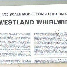 Maquetas: INSTRUCCIONES DE MONTAJE DEL WESTLAND WIRLWIND MK.I DE AIRFIX ESCALA 1/72. Lote 171577228
