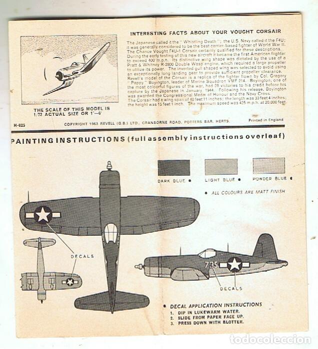 INSTRUCCIONES DE MONTAJE DEL VOUGHT F4U-1D DE REVELL ESCALA 1/72 (Juguetes - Modelismo y Radio Control - Maquetas - Aviones y Helicópteros)