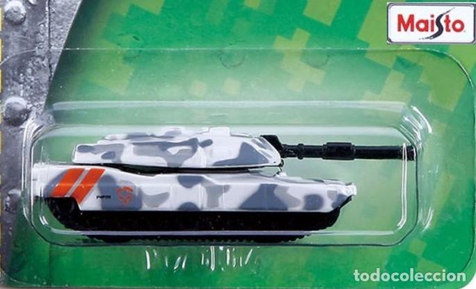 Maquetas: LOTE TANKE DE METAL / BLINDADO / CARRO DE COMBATE - MAISTO - M1A1 ABRAMS - US ARMY - SCL. 1/64 - Foto 2 - 178085563