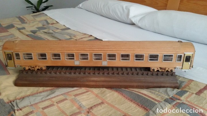 Maquetas: Tren, Renfe, vagón, todo madera, pieza única, artesania, creada por modelista de fundición de CAF - Foto 8 - 178892131