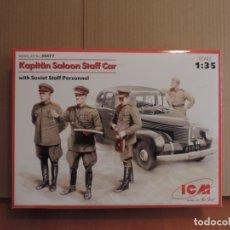 Maquetas: MAQUETA - ICM 35477 KAPITÄN SALOON STAFF CAR WITH SOVIET STAFF PERSONNEL 1/35. Lote 178943116