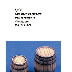 Maquetas: WWII LOTE BARRILES MADERA VARIOS TAMAÑOS 4 PIEZAS RESINA 1/35 ACCESORIOS DIORAMA. Lote 179203743