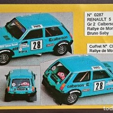 Maquetas: MINI RACING KIT RENAULT 5 ALPINE GR 2 CALBERSON BRUNO SABY / MONTE CARLO 1979. Lote 179343938