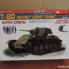 Maquetas: MAQUETA - MINIART 35243 T-80 SOVIET LIGHT TANK W/CREW 1/35. Lote 181471656