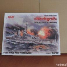 Maquetas: MAQUETA - ICM S.017 WWI GERMAN BATTLESHIP MARKGRAF 1/700. Lote 181573632