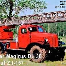 Maquetas: KIT 1/87 ZZ MODELL 87202 AERIAL LADDER MAGIRUS DL30 ON ZIL-157 1/87 H0 NUEVO NEW. Lote 182436785