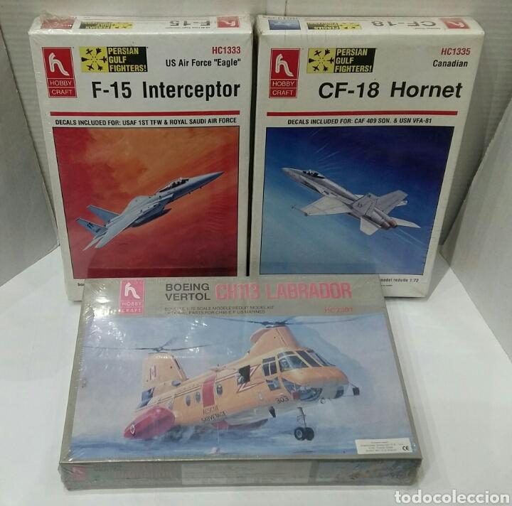LOTE HOBBY CRAFT.BOEING VERTOL CH113 LABRADOR, F-15 INTERCEPTOR, CF-18 HORNET.1/72. PRECINTADO.NUEVO (Juguetes - Modelismo y Radio Control - Maquetas - Aviones y Helicópteros)
