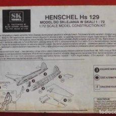 Maquetas: INSTRUCCIONES DE MONTAJE DEL HENSCHEL HS-129 DE SK MODEL ESCALA 1/72. Lote 184320842