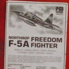 Maquetas: INSTRUCCIONES DE MONTAJE DEL NORTHROP F-5A DE PM MODEL . ESCALA 1/72. Lote 191053940