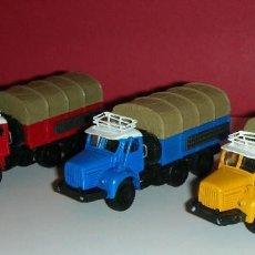 Maquetas: LOT DE 3 BERLIET GBC 8 MK GAZELLE CAMIONS ROUGE-BLEU-JAUNE 1/87EME. NEUF / NUEVOS Y EN SUS CAJAS .. Lote 191589461