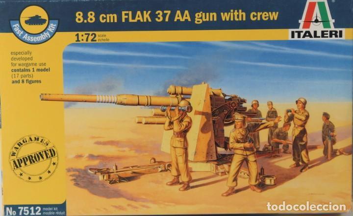 MAQUETA CAÑÓN 8.8 CM FLAK 37 AA CON ARTILLEROS, REF. 7512, 1/72, ITALERI (Juguetes - Modelismo y Radiocontrol - Maquetas - Militar)