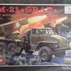 Maquetas: BM-21 GRAD SOVIET MÚLTIPLE LAUNCH ROCKET 1:35 ICM 35381 MAQUETA CAMIÓN CARRO TANQUE LANZACOHETES. Lote 194299375