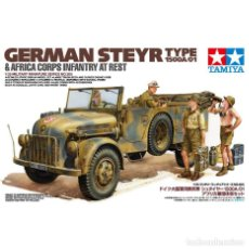 Maquetas: GERMAN STEYR TYPE 1500A/01 & AFRICA CORPS INFANTRY TAMIYA 1/35 MAS FOTOGRABADO EDUARD 35196. Lote 195235481