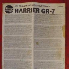 Maquetas: INSTRUCCIONES DE MONTAJE DEL HARRIER GR.7 DE AIRFIXESCALA 1/72. Lote 195407055