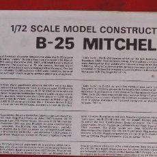 Maquetas: INSTRUCCIONES DE MONTAJE DEL NORTH AMERICAN B-25 DE AIRFIXESCALA 1/72. Lote 195443182