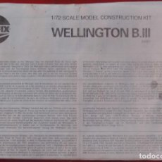 Maquetas: INSTRUCCIONES DE MONTAJE DEL VICKERS WELLINGTON III DE AIRFIX ESCALA 1/72. Lote 195443197