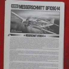 Maquetas: INSTRUCCIONES DE MONTAJE DEL MESSERSCHMITT BG.109 G-14DE ACADEMY ESCALA 1/72. Lote 195536763