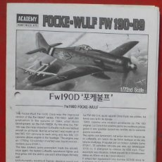 Maquetas: INSTRUCCIONES DE MONTAJE DEL FOCKE WULF FW-190 D-9 DE ACADEMY ESCALA 1/72. Lote 195537007