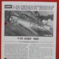 Maquetas: INSTRUCCIONES DE MONTAJE DEL REPUBLIC P-47 D DE ACADEMY ESCALA 1/72. Lote 195537226