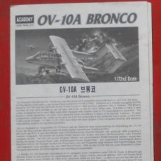 Maquetas: INSTRUCCIONES DE MONTAJE DEL ROCKWELL OV-10 A DE ACADEMY ESCALA 1/72. Lote 195537323