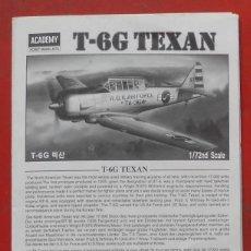 Maquetas: INSTRUCCIONES DE MONTAJE DEL NORTH AMERICAN T-6 G DE ACADEMY ESCALA 1/72. Lote 195537435