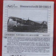 Maquetas: INSTRUCCIONES DE MONTAJE DEL MESSERSCHMITT BF.109 C-1 DE AVIS ESCALA 1/72. Lote 195538761