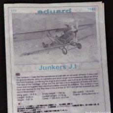 Maquetas: INSTRUCCIONES DE MONTAJE DEL JUNKERS J.I DE EDUARD ESCALA 1/72. Lote 195540071