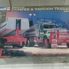 Maquetas: REVELL KENWORTH DUMPER & TANDEM TRAILER. NUEVO EN CAJA. PRECINTADO.ESCALA 1/24.REF 07556.1995.ÚNICO. Lote 195580380