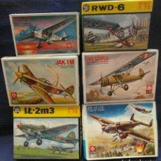 Maquetas: LOTE DE 6 AVIONES WW2 RUSOS Y POLACOS 1/72 ZTS. Lote 251956295