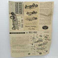 Maquetas: INSTRUCCIONES DE MONTAJE DEL ROLLS ROYCE 1911 DE GOWLAND Y GOWLAND, AÑOS 60. Lote 198846230