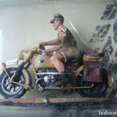 Maquetas: MOTO BMW R75 CON SOLDADO AFRIKAKORPS DE PLOMO A ESCALA. Lote 199150832