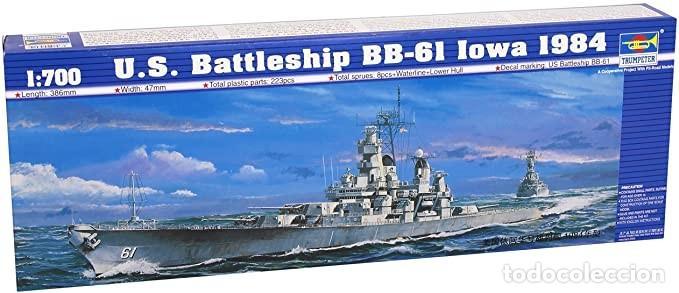LOTE MAQUETA BARCO / NAVIO / BUQUE - TRUMPETER - US BATTLE SHIP BB 61 IOWA - LONG 39 CM - ESCL 1/700 (Juguetes - Modelismo y Radiocontrol - Maquetas - Barcos)