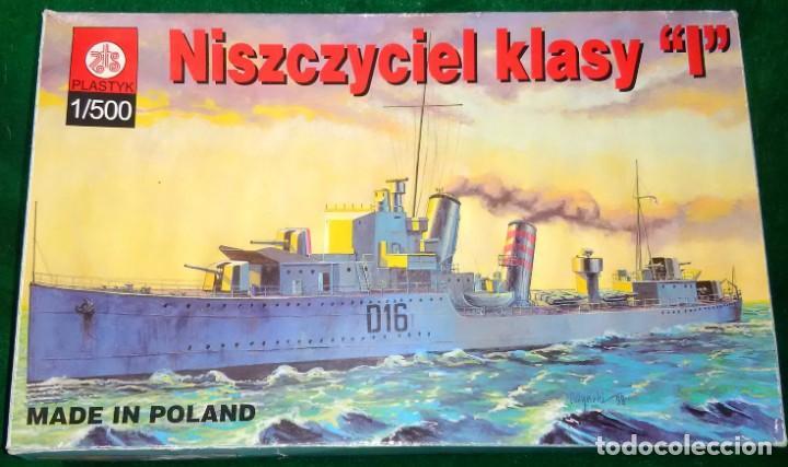 LOTE MAQUETA BARCO / NAVIO / BUQUE - PLASTYK POLONIA - DESTRUCTOR WWII - HMS IVANHOE - ESCL 1/500 (Juguetes - Modelismo y Radiocontrol - Maquetas - Barcos)