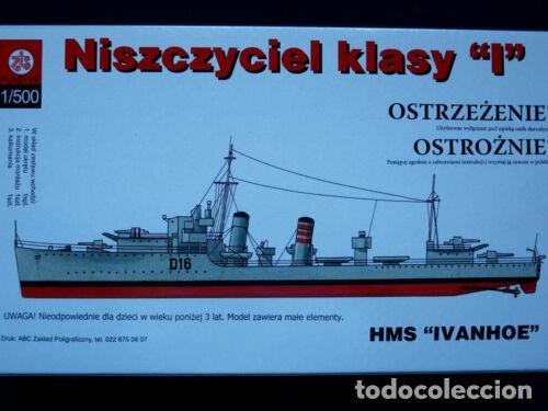Maquetas: LOTE MAQUETA BARCO / NAVIO / BUQUE - PLASTYK POLONIA - DESTRUCTOR WWII - HMS IVANHOE - ESCL 1/500 - Foto 2 - 201609815