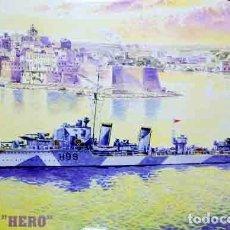 Maquetas: LOTE MAQUETA BARCO / NAVIO / BUQUE MASTER- DESTRUCTOR HMS HERO INGLES WWII - LONG 20 CM - ESCL 1/500. Lote 201620320