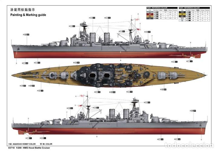 Maquetas: LOTE MAQUETA BARCO / NAVIO / BUQUE ITALERI - HMS HOOD CRUCERO INGLES WWII - LONG 36 CM - ESCL 1/720 - Foto 2 - 201620702
