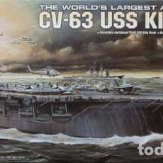 Maquetas: LOTE MAQUETA NAVIO / BUQUE - ACADEMY - PORTAAVIONES KITTY HAWK USS CV 63 - LONG 41 CM - ESCL 1/800. Lote 201621737
