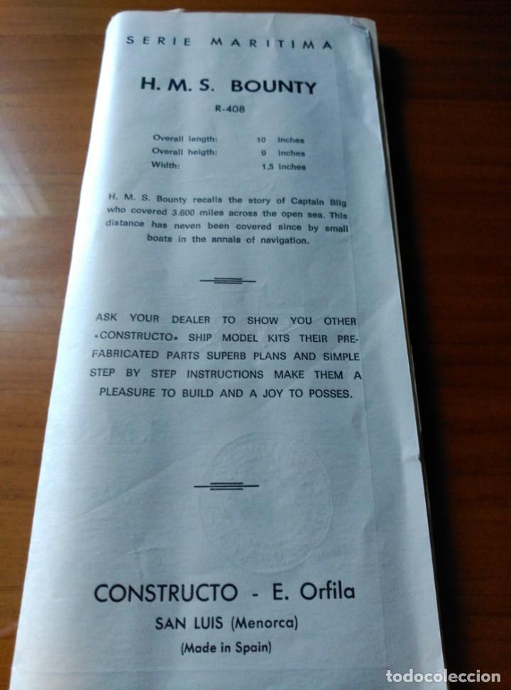 Maquetas: MAQUETA H.M.S. BOUNTY - R-408 - CONSTRUCTO SAN LUIS MINORCA SPAIN - AÑOS 70 - COMPLETO!!! - Foto 7 - 203766295