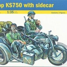 Maquettes: MAQUETA MOTOCICLETA ZUNDAPP KS 750 CON SIDECAR, REF. 317, 1/35, ITALERI. Lote 261613905