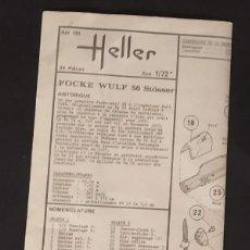 Maquetas: INSTRUCCIONES DE MONTAJE DEL FOCKE4 WULF FW.58 STÖSSER DE HELLER. ESCALA 1/72. Lote 206761037